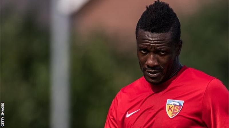 Asamoah Gyan is keen on collecting his money from Turkish side Kayserispor