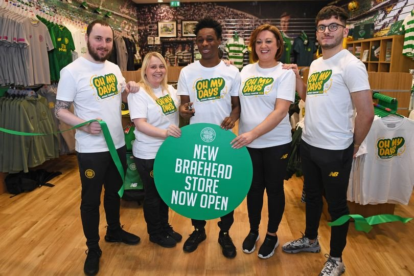 Jeremie Frimpong pictured in Celtic 'oh my days' t-shirt as he opens new club store