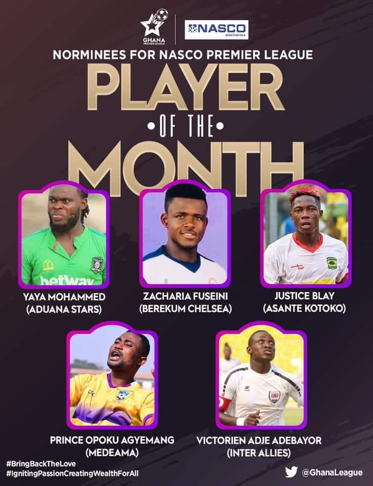 Ghana Premier League Player of the month for January nominees announced