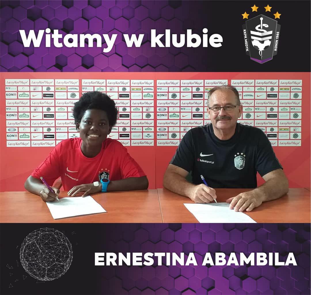 Polish giants KKPK Medyk Konin announce the signing of Black Queens midfielder Ernestina Abambila