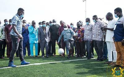 President Akufo-Addo commissions astro-turf at the University of Professional Studies (UPSA)